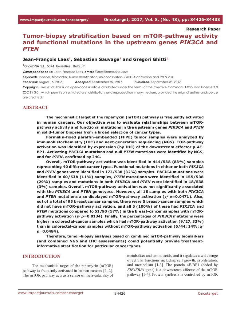 Tumor-biopsy stratification based on mTOR-pathway activity and functional mutations in the upstream genes PIK3CA and PTEN